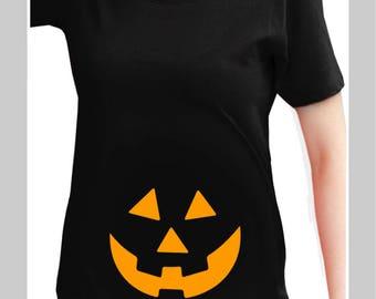 Pregnancy Halloween shirt Halloween Maternity Shirt Funny Pregnancy Announcement Shirt Mommy's Little Pumpkin maternity tee Pumpkin Face Tee