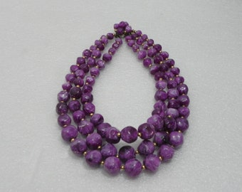 Vintage Triple Stand Beaded Necklace
