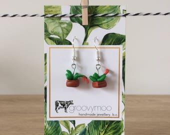 flowering succulent polymer clay earrings