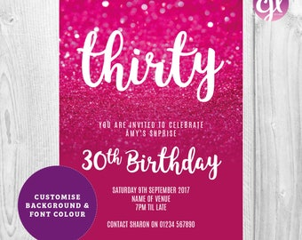 x50 Hot Pink Glitter Invitations | Birthday Party invitations | Pink Glitter Invitations | Glitter Invitations | Girls Birthday Invitations