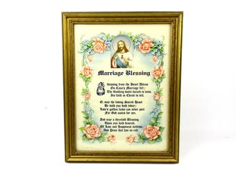 1940s Vintage Marriage Blessing Framed Litho Print Wall Hanging,1943 HR Hansen Sacred Heart of Jesus Marriage Blessing Art