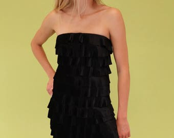 Amazing black vintage 90s Express tiered pleated ruffle tube dress SIZE S 4