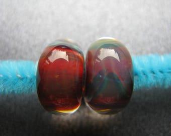 BORO Lampwork Beads Pair, Lampwork Pair, Borosilicate Beads, Red, Teal, Green, Purple, Orange, Yellow, OOAK Handmade Lampwork Beads - HGD216