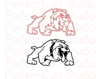 Bull Dog SVG & Studio 3 Cut File Cutouts Files BullDog Logo for Silhouette Cricut File SVGS Stencils Decals SVGs Football BullDogs College