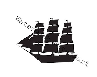 Sailboat SVG & Studio 3 Cut File for Silhouette Brother Cricut Designs Downloads Files Cutout Cutouts Sailing Boat Pirate Ship Svgs Sail
