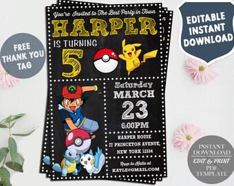 Pokemon Invitation Instant Download, Pokemon Birthday Invitation, Pokemon Invites, Pokemon Thank You Tags, Pokemon Editable Invitation