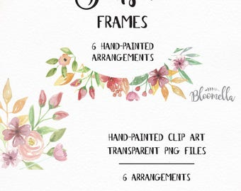 6 Watercolour Frame Clipart - Sunset Pink Hand Painted Green Summer INSTANT DOWNLOAD PNGs Leaf Garlands Wreaths Peach Pink Leaves Digital