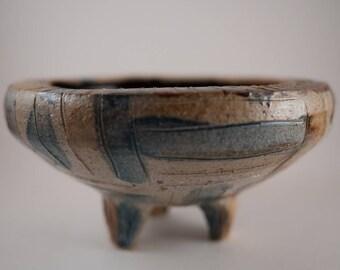 Ceramic Hand Thrown Bowl, Snack Bowl, Serving Bowl, Key Bowl, Trinket Bowl, Decor, Dining, Serving Bowl, Blue, Brown, White, Gift-GSacherArt