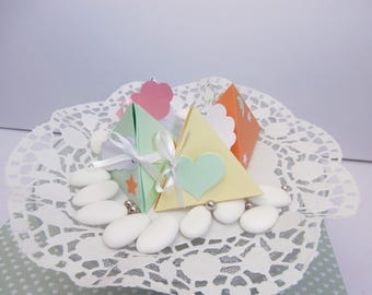 Box dragees pyramid for christening or birth
