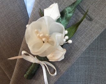 wedding ivory and green kanzashi flower lapel pins