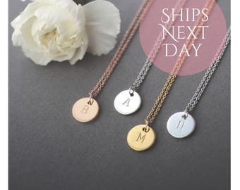 Small initial disc necklace, rose gold, gold and silver disc, dainty chain, hand stamped, initial personalised