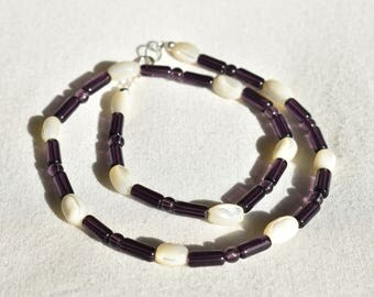 Purple Glass Shell Necklace / White Iridescent Shell Necklace / Beaded Patterned Amethyst Necklace / Gift for Her