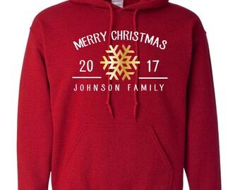 Family Christmas Customizable Snowflake Sweatshirts Hoodie Hooded Custom Set Personalized Toddler Holiday Custom Sweater Gift