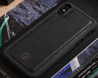 Apple iPhone X / iPhone 10 Genuine Leather Phone Case in Black Pebble Grain Genuine Leather
