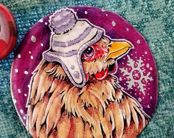 Winter Chicken - Upcycled Pin