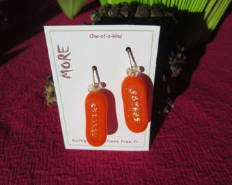 Orange glass earrings with Golden grid iridescent leaf inclusion
