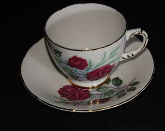 Vintage, Delphine, Roses, Teacup & Saucer, Bone China, Gold Rimmed, Floral, Footed, Made in England, Valentines Day gift