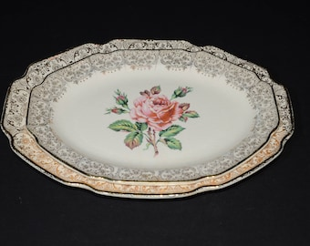 Mid-century (c.1950s), DOMINION CHINA, BRIARD rose, 2 oval serving plates, vintage, U.S.A., Pink roses, 22k gold floral chintz