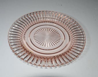 Pink Depression Glass, Queen Mary by Hocking Glass, Dessert plate, Lovely Pressed Glass, glass,Mid-century, vintage,Bread Butter plate,1930s