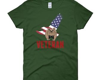 Military Veteran BullDog With American Eagle Flag Women's short sleeve t-shirt