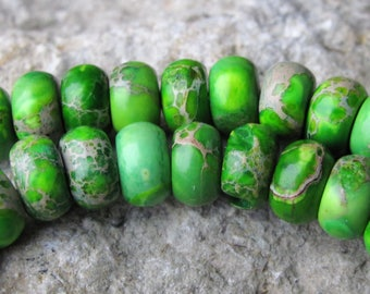 Lime green impression jasper 8mm rondelle beads. One strand of 13'' (33cm). Aqua terra jasper beads/Snakeskin/Imperssion jasper beads