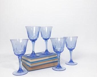 Vintage Blue Wine Glasses, Vintage Wine Glasses, Blue Stemware, Cobalt Blue Wine Glasses, Avon American Blue, Vintage Glassware,Blue Glasses