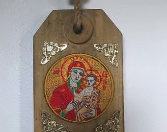 Rustic wood frame | Sv Bogorodica | Mother Mary | Embroidery art | Serbian icon | Orthodox