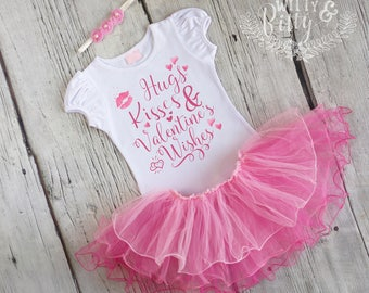 Hugs Kisses and Valentine's Wishes Outfit, Valentines Day Outfit, Pink Tutu Outfit, Shirt Headband Tutu Outfit - C397H