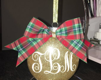 Monogrammed Christmas tree ornament glitter personalized ornament custom made sith bow