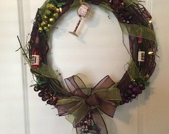 Wine Wreath, Grapevine Wine Wreath, Wine Themed Wreath, Christmas Wine Wreath, Grape Wreath, Wine Glass Wreath, Purple Wreath, Green Wreath