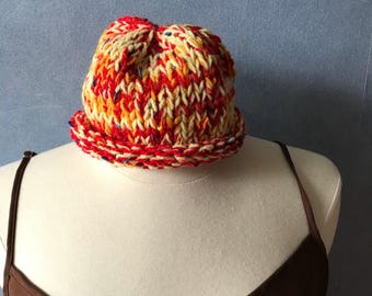 Hand Knit Baby Hat, Rolled Edge Slouchy Stocking Cap, Variegated Red, Yellow, White, and Orange Beanie