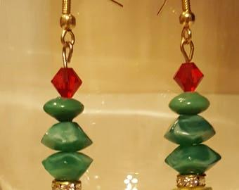Christmas Jewelry, Christmas Tree Earrings, Holiday Earrings, Swarovski Earrings, Christmas Earrings, Green Earrings, Dangle Earrings
