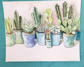 Cactus and succulent watercolor | original painting | 8x10