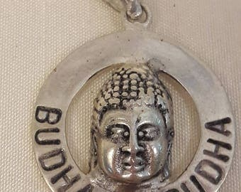Small Buddha To Buddha circle sterling silver hand carved Pendant