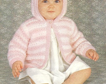 Hooded Baby Jacket, Knitted Pattern, Instant Download.