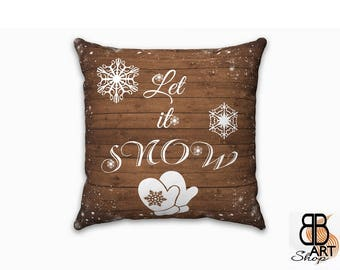Winter Decor, Winter Pillow, Rustic Decor, Farmhouse Decorations, Rustic Pillow, Christmas Gift Ideas, Winter Interior Decor, Let It Snow