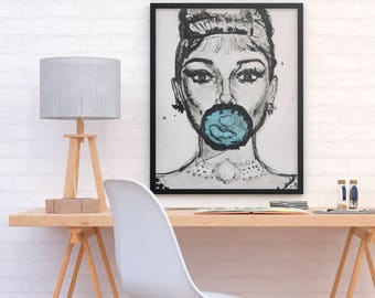 ALI - Audrey Hepburn one blue poster print perfect to decor your home or office (MEGA Limited Edition)