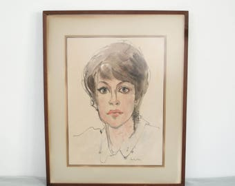 vintage original watercolor portrait / neutral palette female portrait / vintage watercolor art