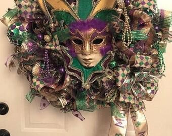 New Orleans Mardi Gras Wreath featuring Mardi Gras Mask