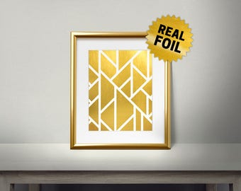Modern Design Pattern, Real Gold Foil Print, Modern Home Decor, Pattern Gold Decor, Home Decoration, Brick Pattern, Luxary Frame, Lines