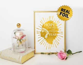 Native American, Hope is the only thing stronger than fear, Real Foil Print, Indian Man Face Profile, American Indian, Native Arts & Decor