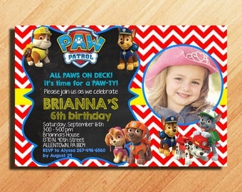 Paw Patrol Birthday Invitation, Paw Patrol Invitation, Paw Patrol Party Invitations, Paw Patrol Invitation Girl, Paw Patrol Birthday Party