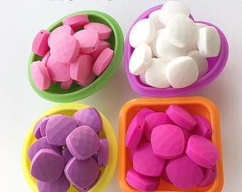 Quadrate Silicone Beads 21mm , Silicone Chew Beads, Baby / Mom Teething Making Jewelry , Food Silicone