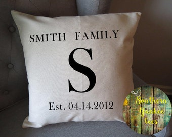 indoor pillow cover only with zipper monogram family name and established date