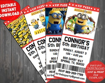 Minion Birthday Invitation, Minion Invitation, Minions Invitation, Minions Birthday Invitation, Minions Party Invite, Minions Invite