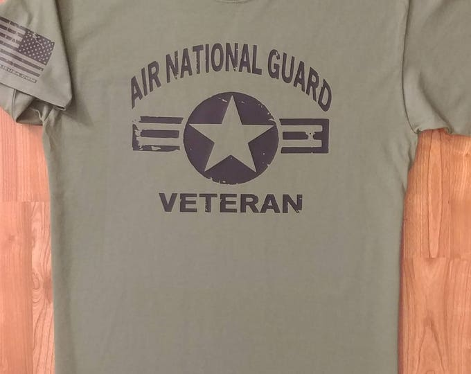 Air National Guard - Distressed - Veteran - Large - Military Green/Black - Free Shipping