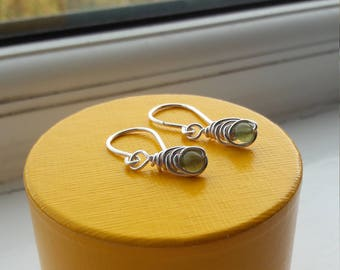 Silver plated copper wire drop earrings. Shepard's hook style. With Green Jasper beads. Ideal for birthdays or Christmas!