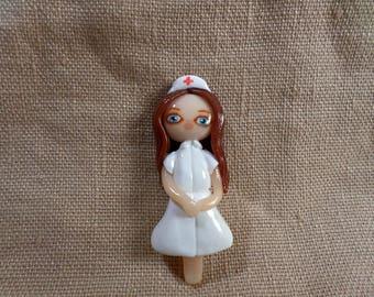 Nurse necklace, cute nurse gift, kawaii nurse, Nurse gift necklace, Nurse jewelry, gift for nurse, clay jewelry, clay nurse jewelry,