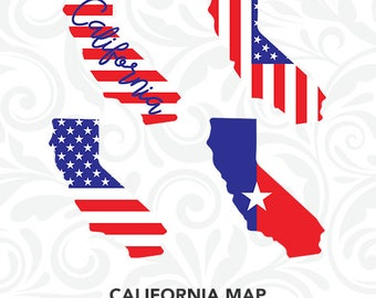 California Map SVG, California Silhouette Files, California State Decal, Cricut Design, SiIhouette Cameo, Clipart, dxf eps png jpg, C-058