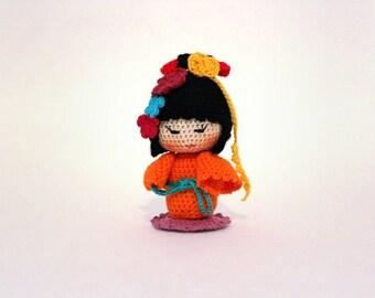 Kokeshi doll , amigurumi doll , crochet doll , kokeshi japanese doll , japanese kokeshi ,Kenko , good health